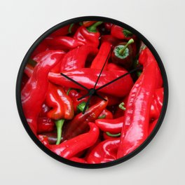 Red Peppers Wall Clock