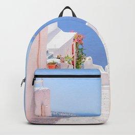 Santorini Greece Mamma Mia pink street Backpack