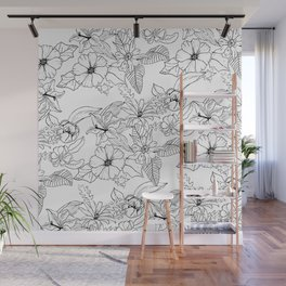 Hand drawn black white lillies peonies floral pattern Wall Mural