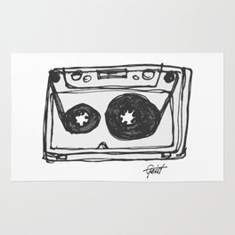 """""""Tape"""" Hand Drawn Cassette Black / Clear Rug"""