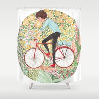 cycling Shower Curtains featuring Summer Cycling by foxflowers