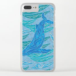 Watercolor Whale Dive Clear iPhone Case