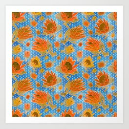 Australian Native Floral Pattern - King Protea Flowers Art Print