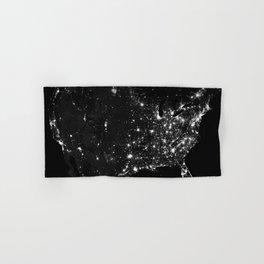 The Lights of the USA (Black and White) Hand & Bath Towel