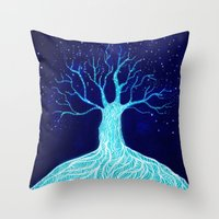 frozen Throw Pillows featuring Frozen by Nancy Woland