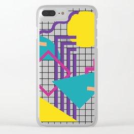Memphis Pattern - 80s Retro White Clear iPhone Case