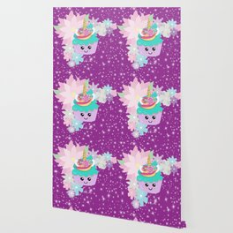 Unicorn Cupcake Sparkles Background Wallpaper