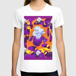 #2Colorful Modern Purple White Iris Orange Yellow Black Design T-shirt