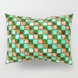 Green Teal and Tan Patchwork Pillow Sham