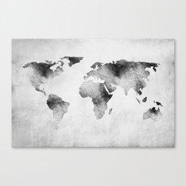 World Map - Hammered Metallic Monochrome Canvas Print
