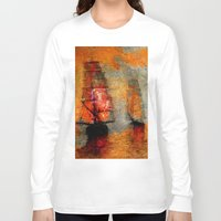 boats Long Sleeve T-shirts featuring melancholic boats by Ganech joe