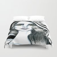 hat Duvet Covers featuring Miss hat by Lagoonartastic