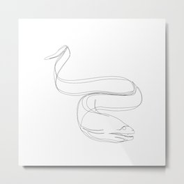 Moray Eel One Line Art Metal Print