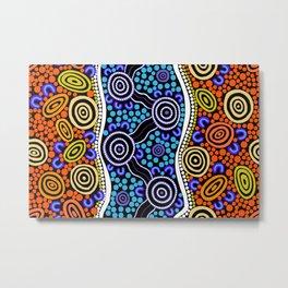 Authentic Aboriginal Art - River Journey Metal Print