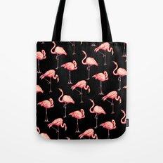 Flamingo Pattern - Black Tote Bag