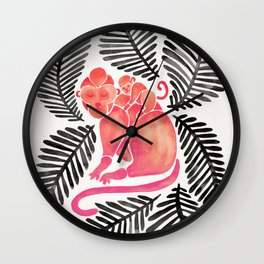 Monkey Cuddles – Pink & Black Palette Wall Clock
