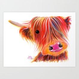 Scottish Highland Cow ' SWEET SATSUMA ' by Shirley MacArthur Art Print