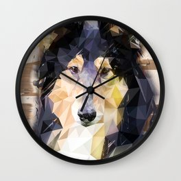 Rough Collie (Low Poly) Wall Clock