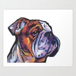 Fun English Bulldog Dog Portrait bright colorful Pop Art Painting by LEA Art Print