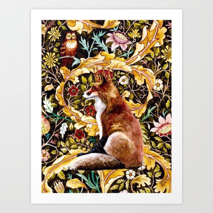 Fox King Original Water Color Art Print