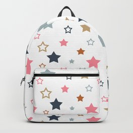 Colorful stars on white. Backpack
