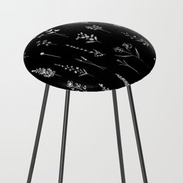 Black wildflowers Counter Stool