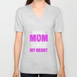 Baseball Moms Full Heart Mothers Day T-Shirt Unisex V-Neck