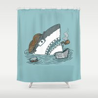 dad Shower Curtains featuring The Dad Shark by Nick Volkert