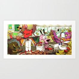 Shopping with Villains  Art Print