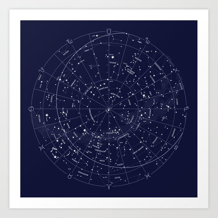 Constellation map indigo art print by mmerlin society6 constellation map indigo art print gumiabroncs Images