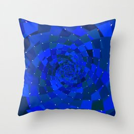 Blue Rose Cosmic Galaxy Geometric Throw Pillow