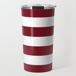 Deep Red Pear and White Wide Horizontal Cabana Tent Stripe Travel Mug