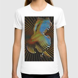 0727s-MM Sensual Abstract Figure Zebra Striped Op Art Nude Woman Back Butt Powerful Artwork T-shirt