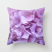 hydrangea Throw Pillows featuring Hydrangea by lillianhibiscus
