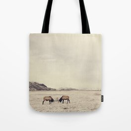 Sparring Elk in Wyoming - Wildlife Photography Tote Bag
