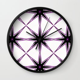 Bright Purple Star and White Pattern Wall Clock