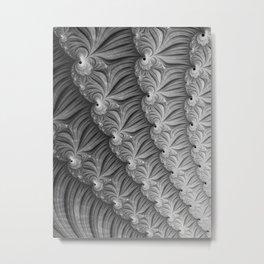 Grey Ruffles - Fractal Art  Metal Print
