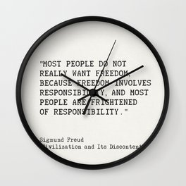 """""""Most people do not really want freedom..."""" Sigmund Freud Wall Clock"""