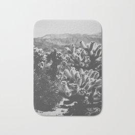 Chollo Cactus Garden (Black + White) Bath Mat