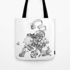 On the Run (Black and White Drawing) Tote Bag