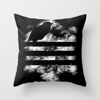 hunting Throw Pillows featuring Hunting Symphony by Tobe Fonseca