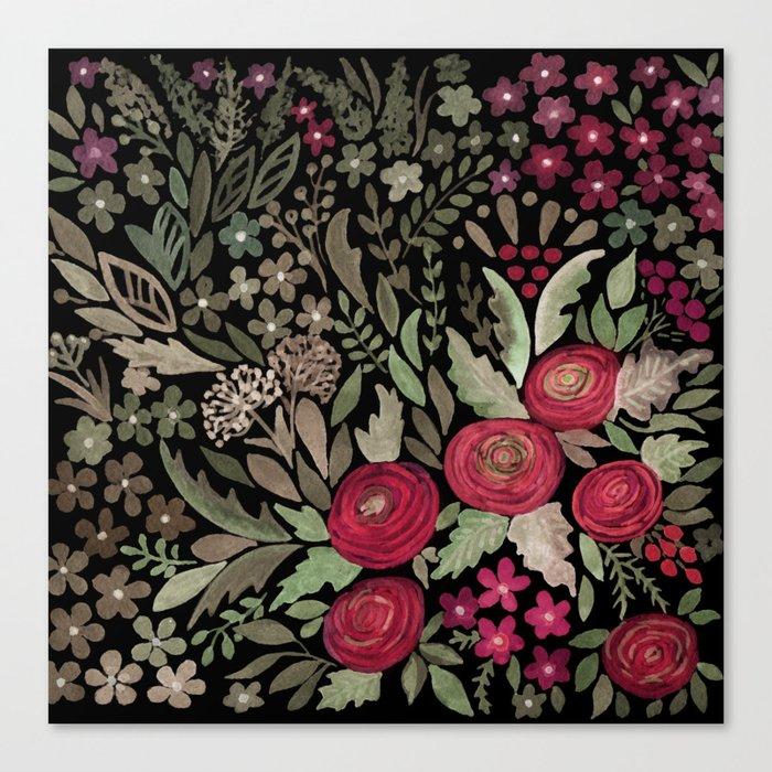 Watercolor . Night garden . Canvas Print