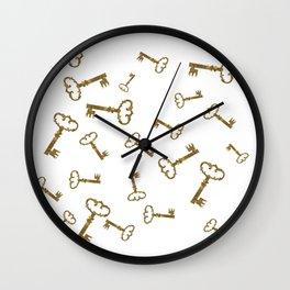 Golden Keys Wall Clock