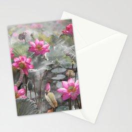 Beautiful pink lotus flower in lake illustration Stationery Cards