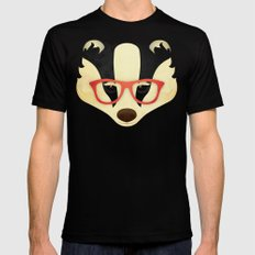 Hipster Badger: Red Mens Fitted Tee MEDIUM Black