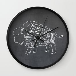Buffalo Butcher Diagram (Meat Chart) Wall Clock