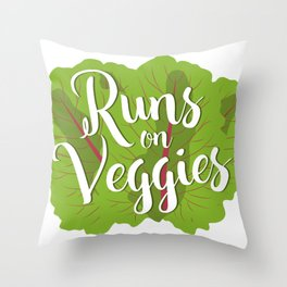 Runs on Veggies Throw Pillow