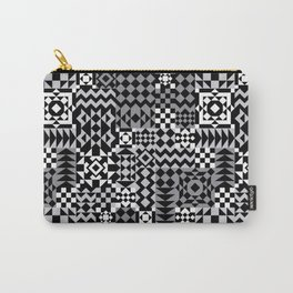 Grey Geo Patchwork Carry-All Pouch