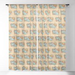 Star Stego   Retro Reptile Palette Sheer Curtain