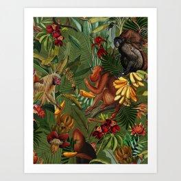 Vintage & Shabby Chic - Green Monkey Banana Jungle Art Print